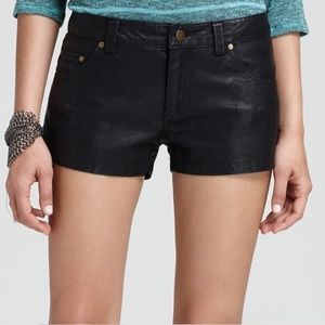 Free People Shorts 4 Vegan Leather Rocker Black